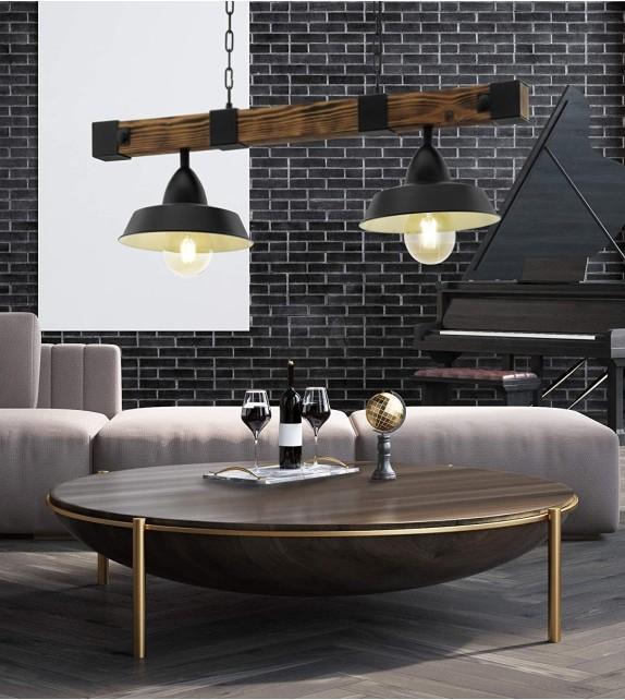 Pendul Oldbury - 49684 Eglo, 2xE27, stil scandinav, maro rustic-negru