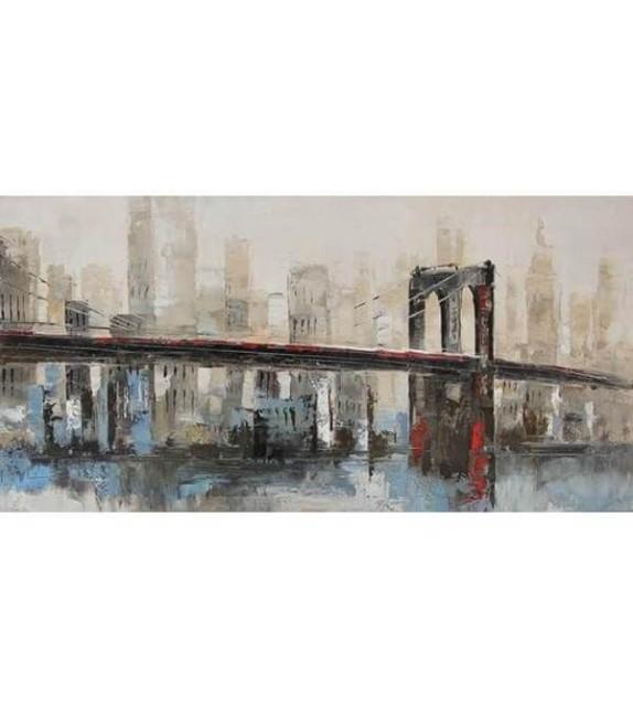 Tablou pictat manual Bridge, 60x120cm