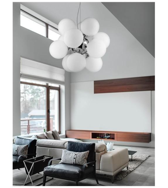 PALLONE, lustra moderna D69, E27 12x60W, crom