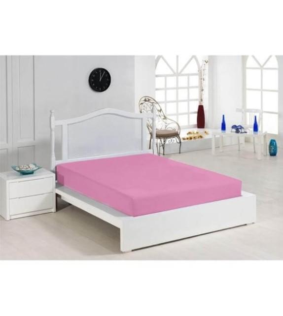 Cearceaf elastic bumbac 100%, 180x200cm, roz