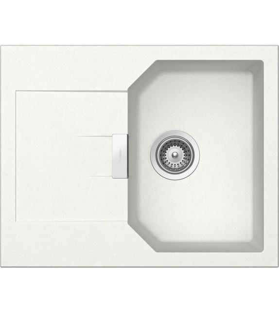 Chiuveta Bucatarie Schock Manhattan D-100XS Alpina Cristalite 640 x 510 mm, granit, reversibila, montare pe blat, alb