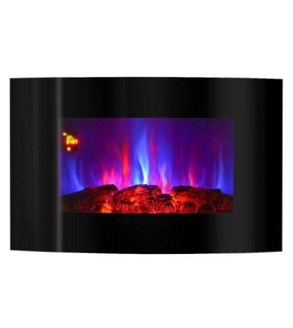 Semineu electric de perete Carlos, 900 x 560 x 145 mm, negru, cu telecomanda