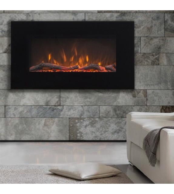 """Semineu electric de perete Marcus 36"""", 840 x 450 x 140 mm, negru, cu telecomanda"""