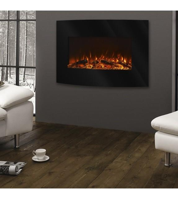 """Semineu electric de perete Santorini 36"""", 900 x 560 x 134 mm, negru, cu telecomanda"""