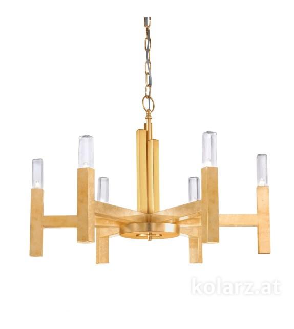 Lustra SPIGOLO - KOLARZ, cu strat foita aur, D70, 6 becuri G9