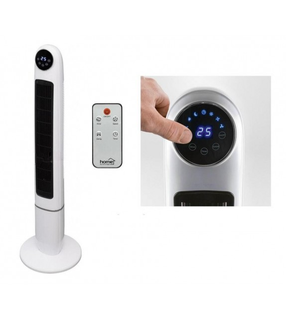 Ventilator de podea turn Home TWFR 120, 3 trepte de ventilatie, 50W, cu telecomanda, alb