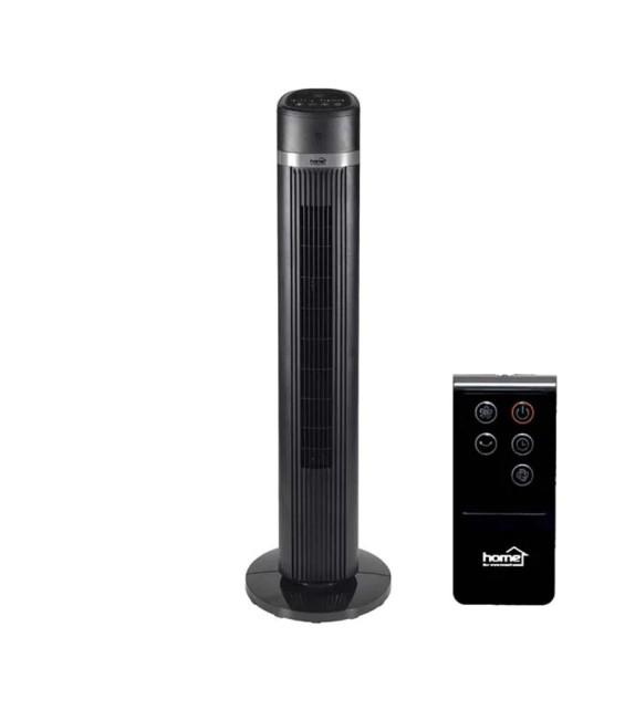 Ventilator de podea turn Home TWFR 100, 3 trepte de ventilatie, 45W, cu telecomanda, negru