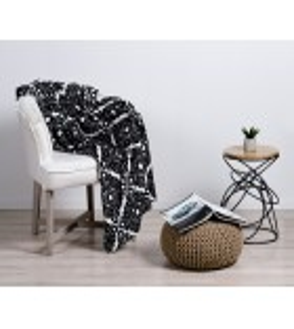 Patura decorativa flanela Mendola Home Textiles, 150x200cm, alb-negru