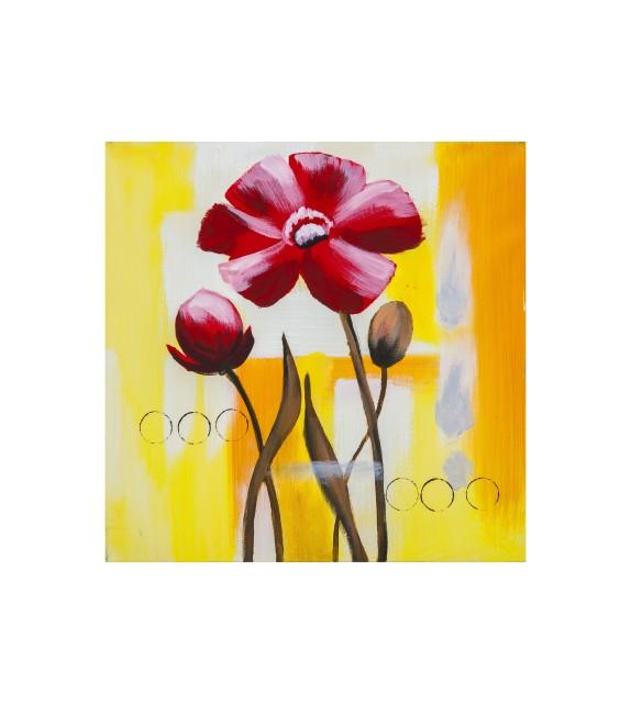 Tablou pictat manual Crizanteme rosii, 40x40cm