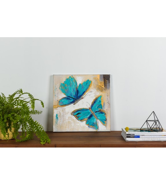Tablou pictat manual Butterfly albastru, dimensiunea 40x40cm