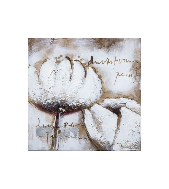 Tablou pictat manual Tulip alb, dimensiunea 30x30cm