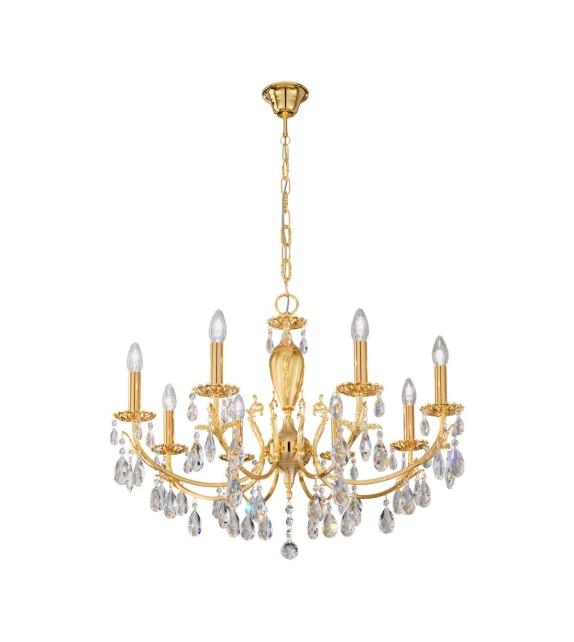 Candelabru Victoria 2, placat cu aur de 24 de carate, 8 brate cu cristale