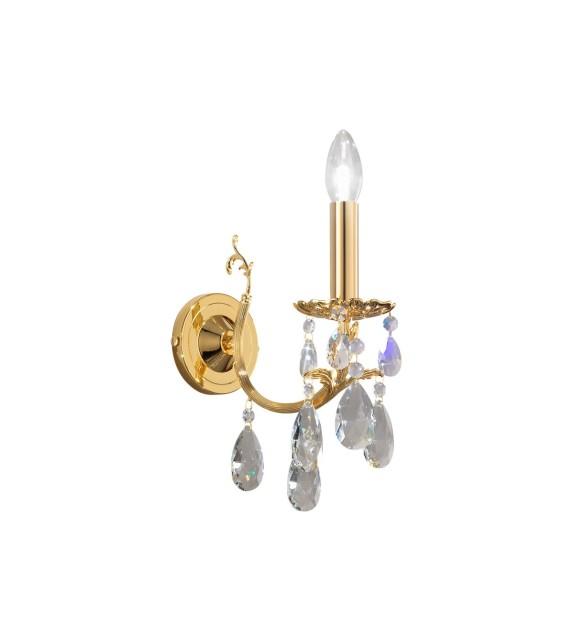 Aplica de perete Victoria 2, placat cu aur de 24 de carate, 1 brat cu cristale