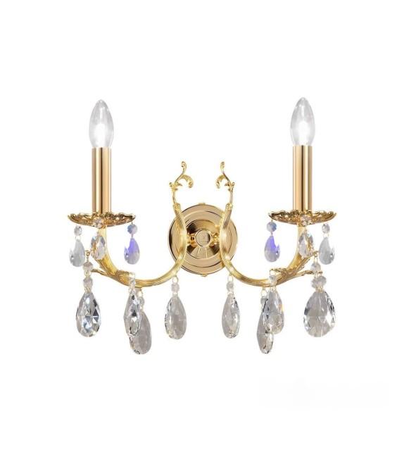 Aplica de perete Victoria 2, placat cu aur de 24 de carate, 2 brate cu cristale