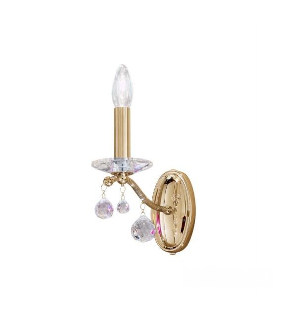 Aplica de perete Carmen 2, placat cu aur de 24 de carate, 1 brat cu cristale