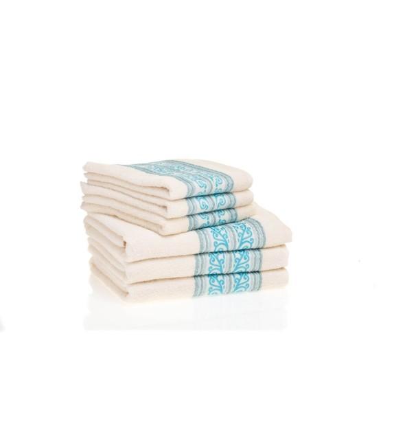 Prosop baie bumbac, pachet 6 bucati, Mendola Wellness, 50x90, 400g/mp, albastru deschis