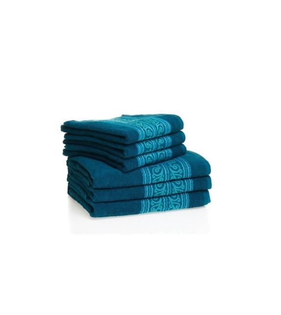 Prosop baie bumbac, pachet 6 bucati, Mendola Wellness, 50x90, 400g/mp, albastru inchis