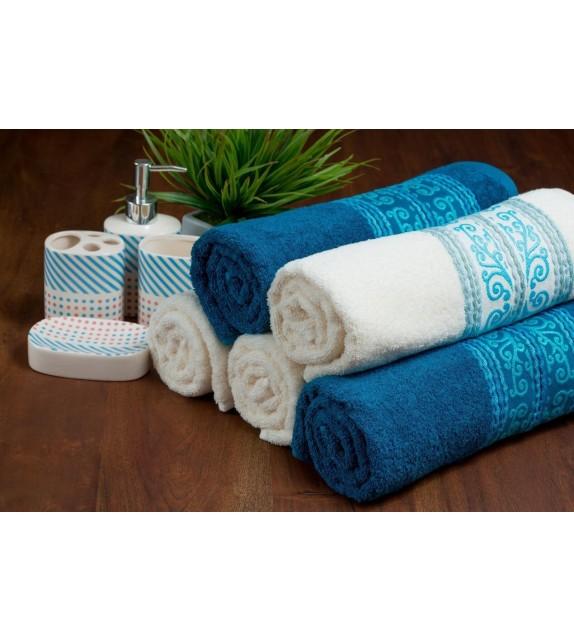 Prosop baie bumbac, pachet 3 bucati, Mendola Wellness, 70x130, 400g/mp, albastru inchis