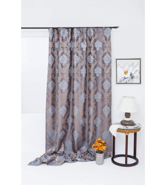 Draperie Figaro Mendola Home Textiles, 140x245cm, cu rejansa, bej-gri