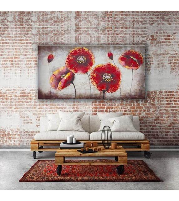 Tablou pictat manual Camp cu flori, 60x120cm
