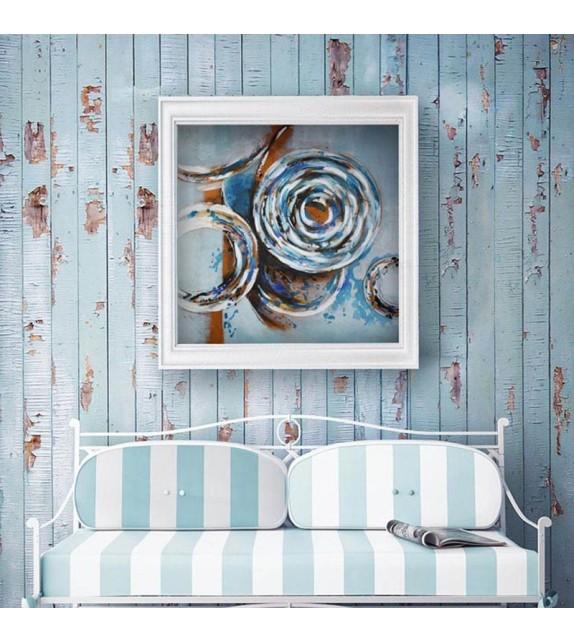 Tablou pictat manual Aquamarine, 100x100cm