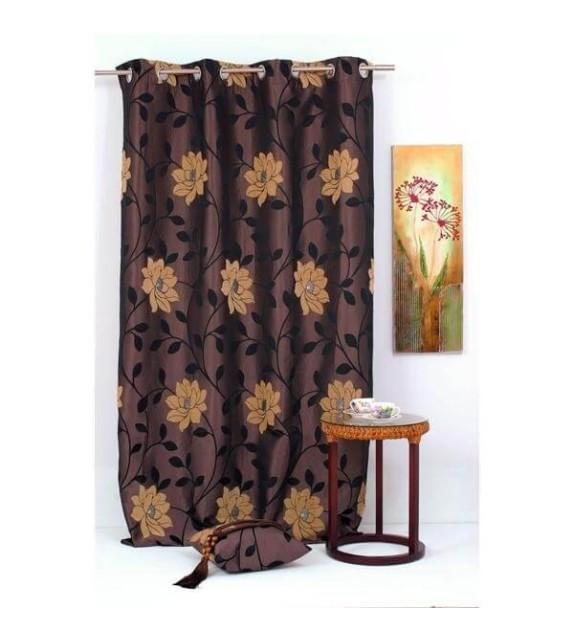 Draperie Maura Home Textiles, 140x245cm cu inele, maro