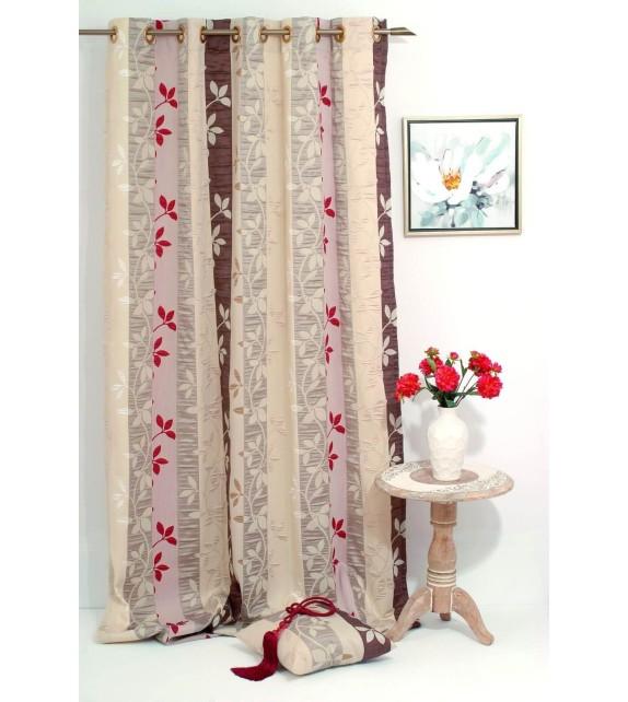 Metraj draperie Gordia cu frunze, latime 280cm, bej-rosu