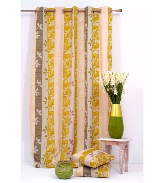 Metraj draperie Gordia cu frunze, latime 280cm, bej-verde