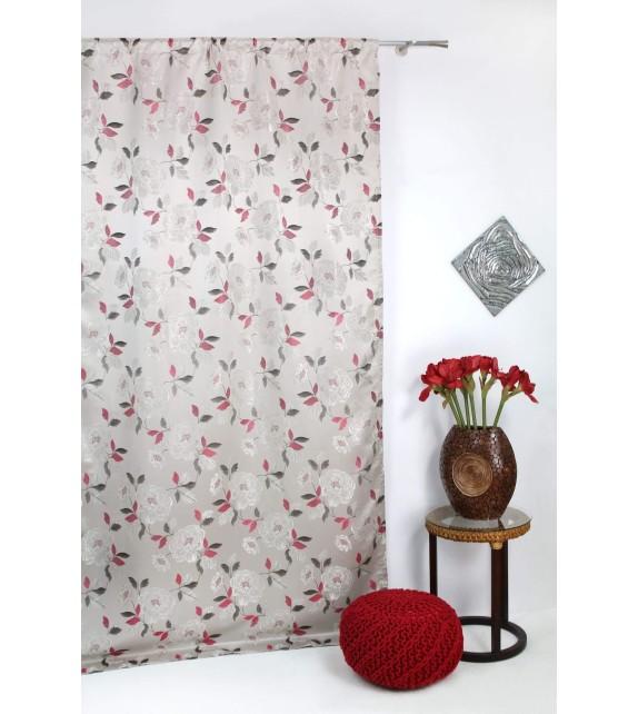 Metraj draperie cu flori Fedora, latime 280cm, crem-bordo