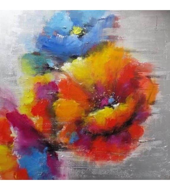 Tablou pictat manual Flori de camp, dimensiunea 60x60cm
