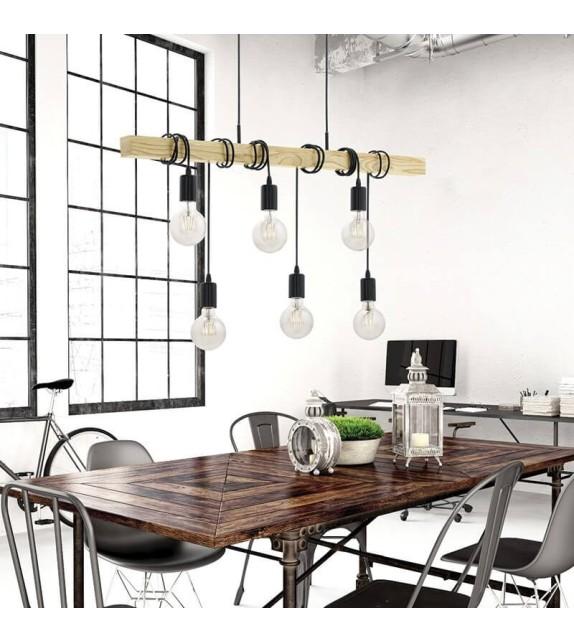 Lustra Townshend - 95499 Eglo, 6xE27, stil scandinav, maro-negru