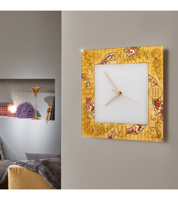 Ceas decorativ de perete TIME - Kolarz, Kiss Auriu, 30x30cm