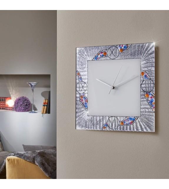 Ceas decorativ de perete TIME - Kolarz, Kiss Argintiu, 30x30cm