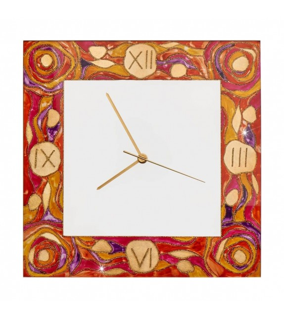 Ceas decorativ de perete TIME - Kolarz, Aqua Red, 30x30cm