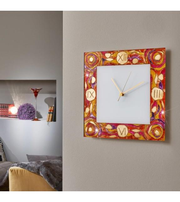 Ceas decorativ de perete TIME - Kolarz, Aqua Red, 30x30cm