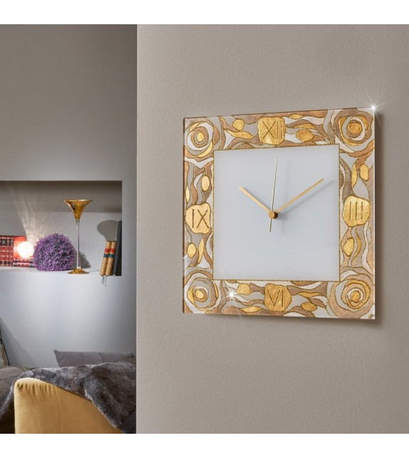 Ceas decorativ de perete TIME - Kolarz, Aqua Champagne, 30x30cm