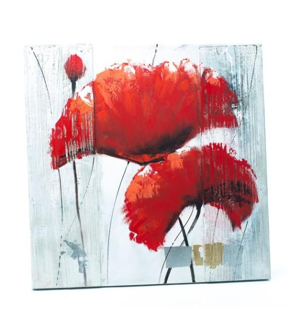 Tablou pictat manual Garoafe rosii, dimensiunea 60x60cm