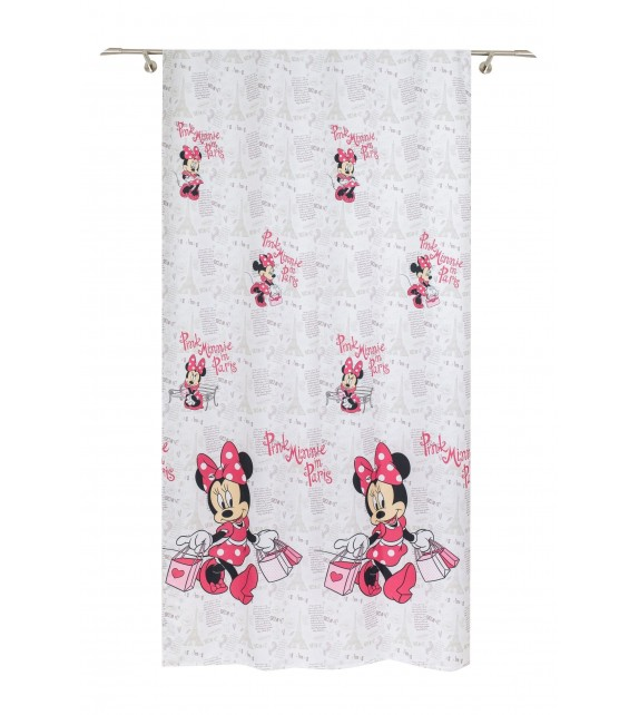 Metraj draperie cu decor Minnie Disney, latime 280 cm, alb
