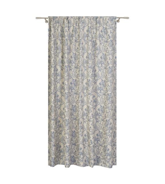 Metraj draperie cu decor Mallory, latime 280 cm, albastru