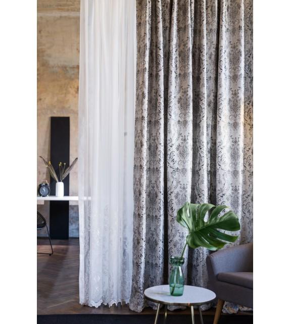 Metraj draperie cu decor Caspia, latime 280 cm, bej-gri