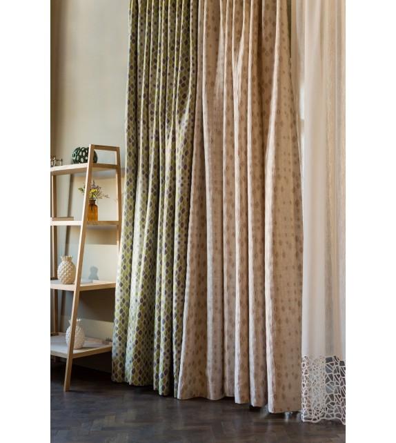 Metraj draperie cu decor Casper, latime 280 cm, verde