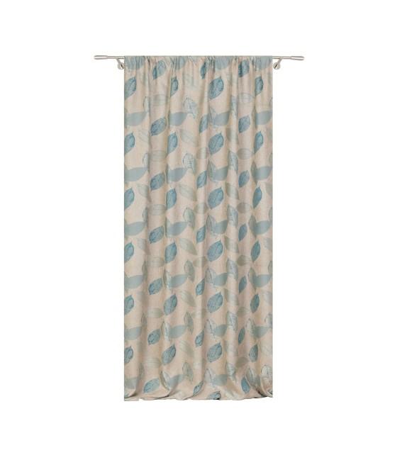 Metraj draperie cu decor Delancy, latime 280 cm, turcoaz