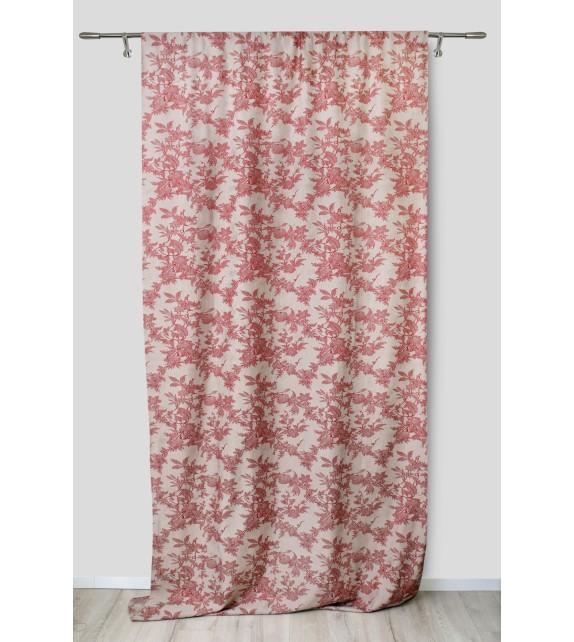 Metraj draperie cu decor Seville, latime 280 cm, rosu