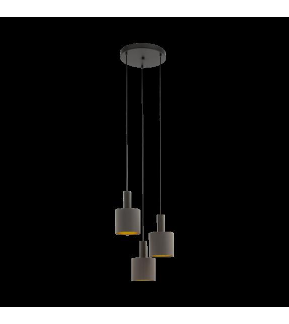 Pendul CONCESSA 97684 Eglo, E27, 3x60W, maro inchis, cappuccino-auriu