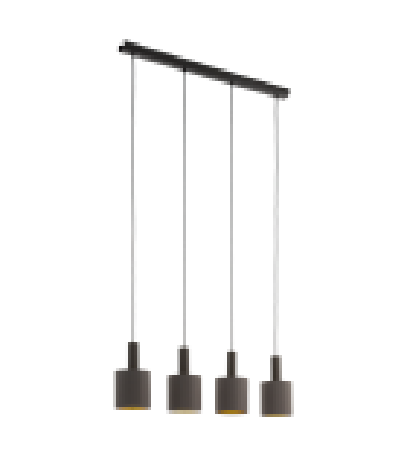 Pendul CONCESSA 97685 Eglo, E27, 4x60W, maro inchis, cappuccino-auriu