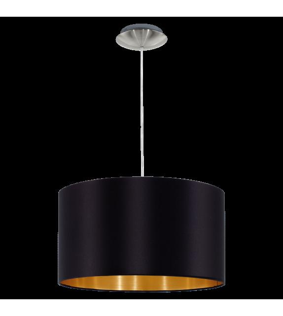 Pendul MASERLO 31599 Eglo, E27, 1x60W, nichel satinat, negru-auriu
