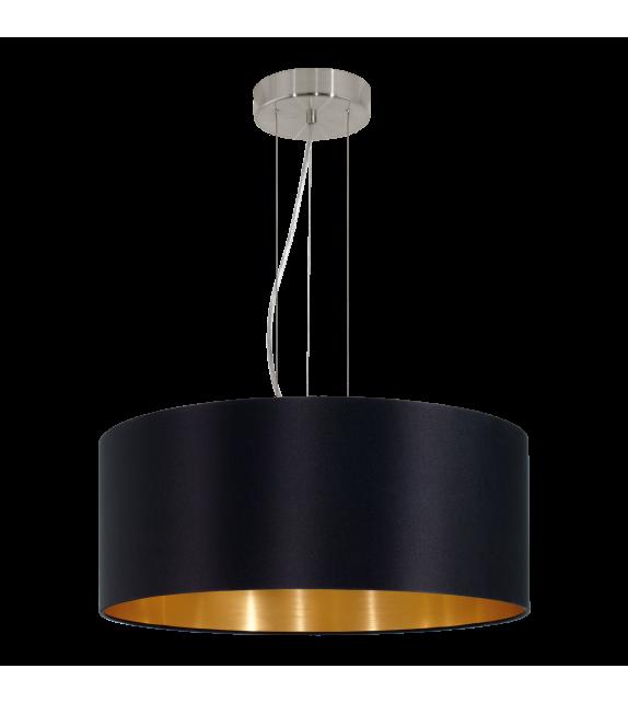 Pendul MASERLO 31605 Eglo, E27, 3x60W, nichel satinat, negru-auriu