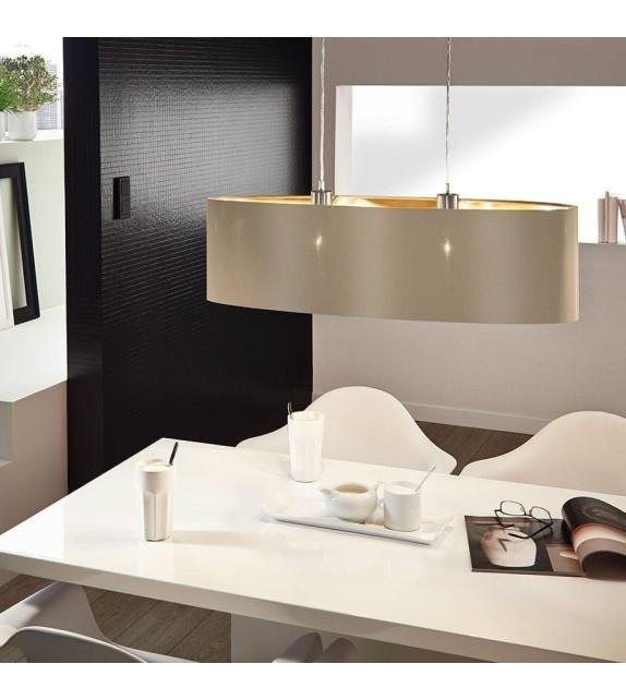 Pendul MASERLO 31613 Eglo, E27, 2x60W, nichel satinat, taupe-auriu