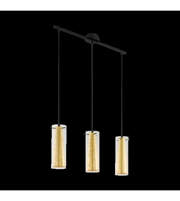 Pendul PINTO GOLD 97652 Eglo, E27, 3x60W, negru-auriu