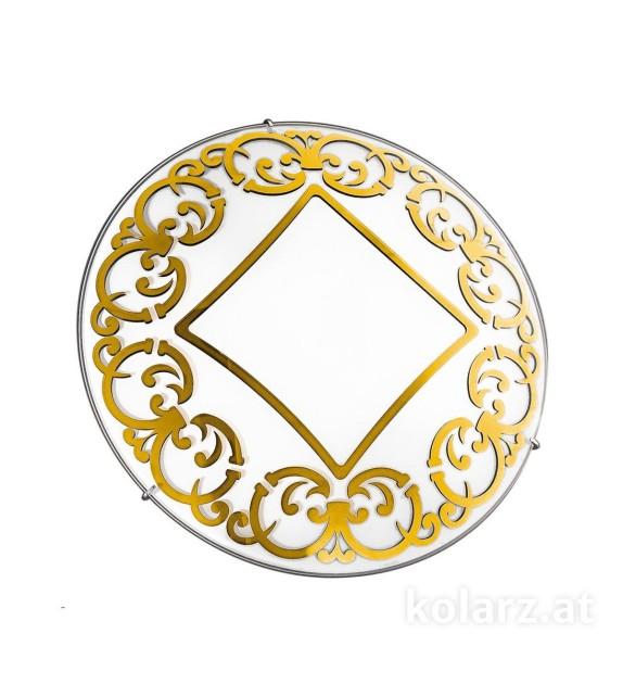 Plafoniera KLIMT - Kolarz, D40, E27, 3x60W, alb, placat cu aur 24k